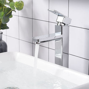"Aquaterior Vessel Faucet Chrome 1-Handle Square 11.8""H"