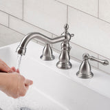 "Aquaterior Widespread Bathroom Faucet 2-Handle w/ Drain Nickel 5.7""H"