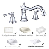 "Aquaterior Widespread Bathroom Faucet 2-Handle w/ Drain Chrome 5.7""H"