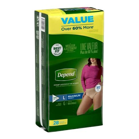 Depend Underwear Women's Maximum Absorbency Large