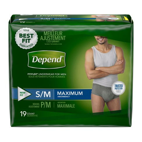 Depend Fit-Flex Underwear for Men Max Absorbency Small/Medium