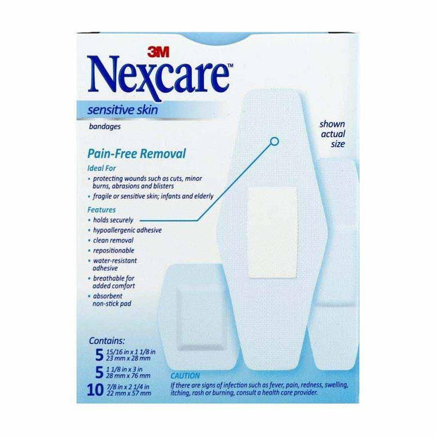 Nexcare Adhesive Bandages Sensitive Skin Assorted Sizes