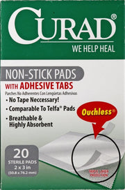 Curad Non-Stick Pads with Adhesive Tabs Small 2 in. x 3 in. 20 ct