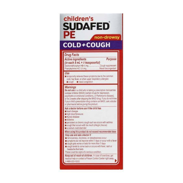 Children's Sudafed PE Cold + Cough Nasal Decongestant Grape Liquid