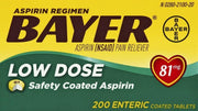 Bayer Aspirin Regimen Low Dose 81mg Enteric Coated Tablets