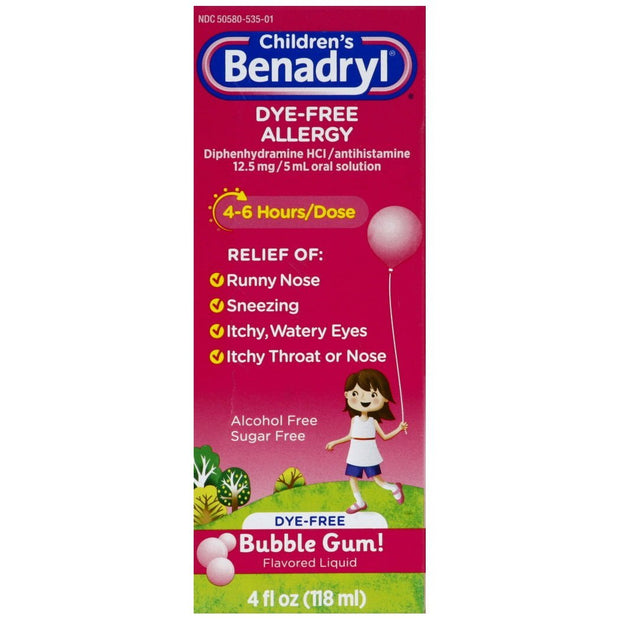Children's Benadryl Allergy Relief Bubblegum Liquid 4 oz