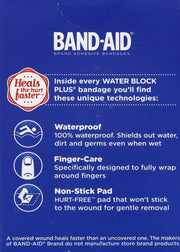 Band-Aid Water Block Plus Finger Adhesive Bandages Assorted Sizes