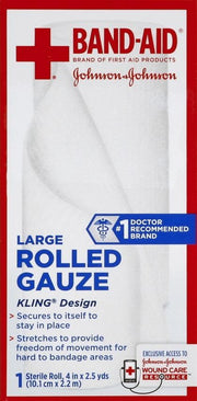 Johnson & Johnson Red Cross Rolled Gauze 4 in. x 2.5 yd