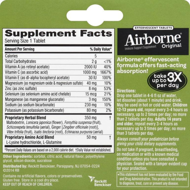 Airborne Immune Support Effervescent Tablets Lemon Lime 10 ct