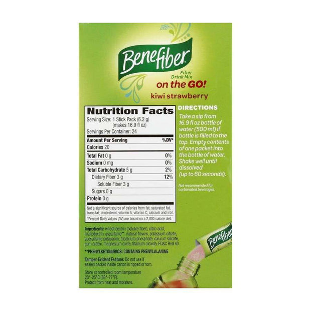 Benefiber Fiber Supplement Powder On-the-Go! Strawberry-Kiwi Stick Packs
