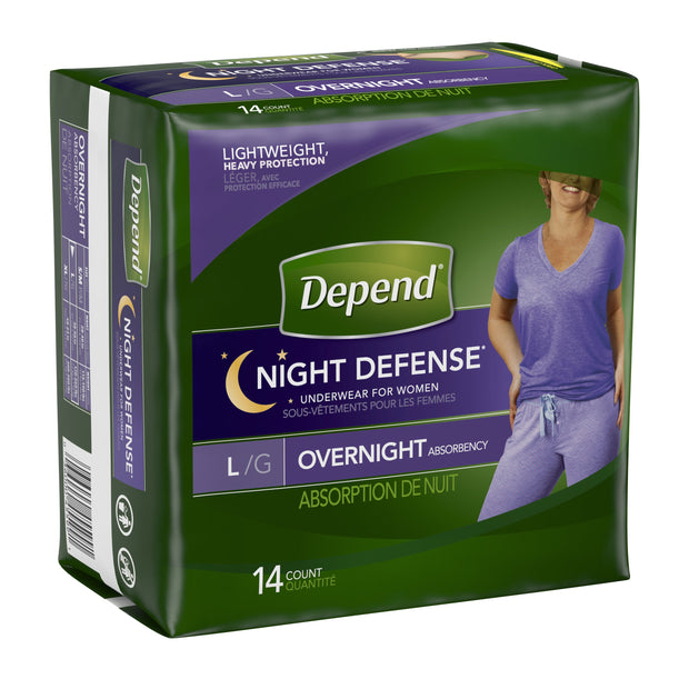 Depend Night Defense Underwear Women's Maximum Absorbency Large