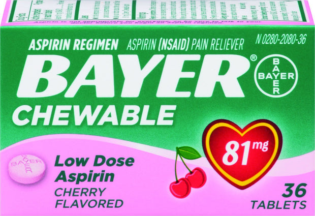 Bayer Children's Aspirin 81mg Cherry Chewable Tablets 36 ct