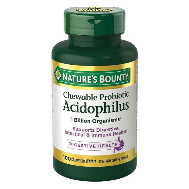 Nature's Bounty Probiotic Acidophilus Digestive Health Chewable Tablets 100 ct