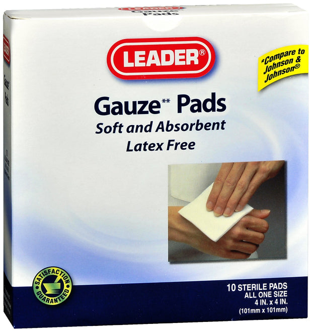 LEADER Gauze Pads Sterile 4 in. x 4 in. 10 ct