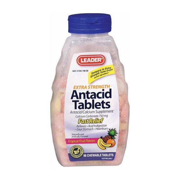 LEADER Antacid Extra Strength Chewable Tablets Tropical 96 ct