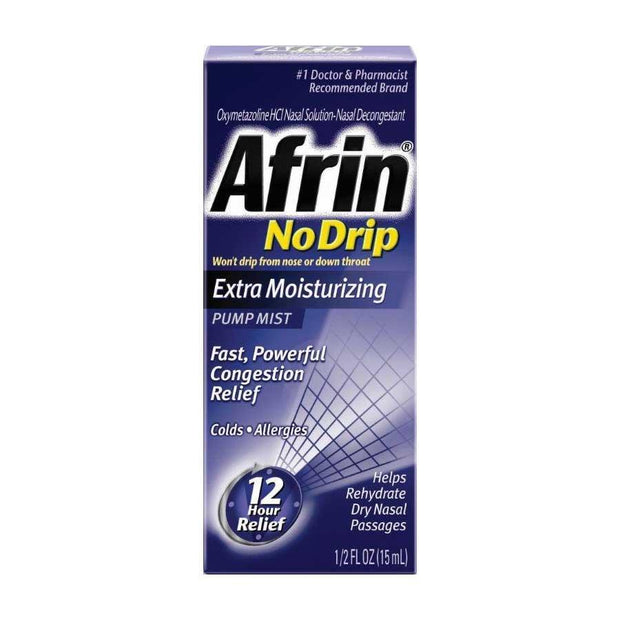 Afrin No Drip Extra Moisturizing Pump Mist Nasal Spray 0.50 oz