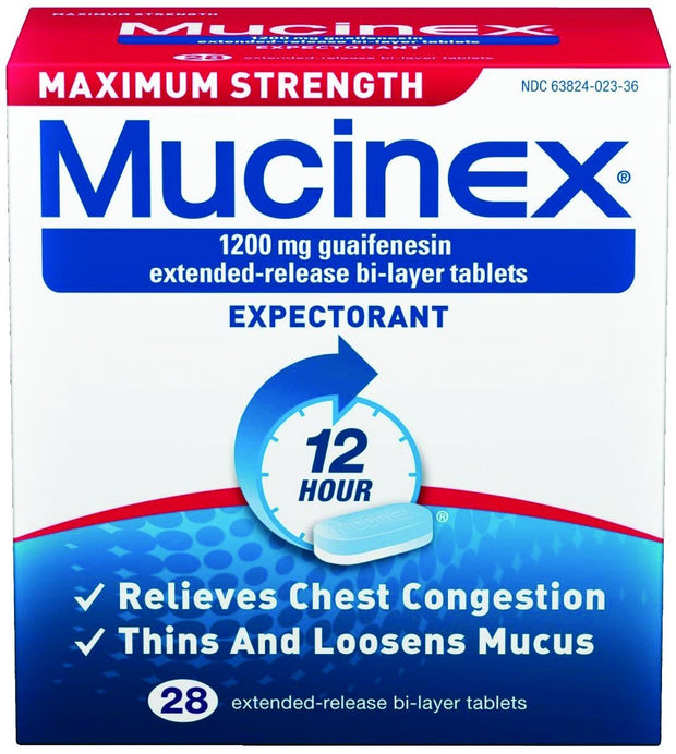 Mucinex 12 Hour Expectorant Max Strength 1200mg Extended Release Bi-Layer Tablets