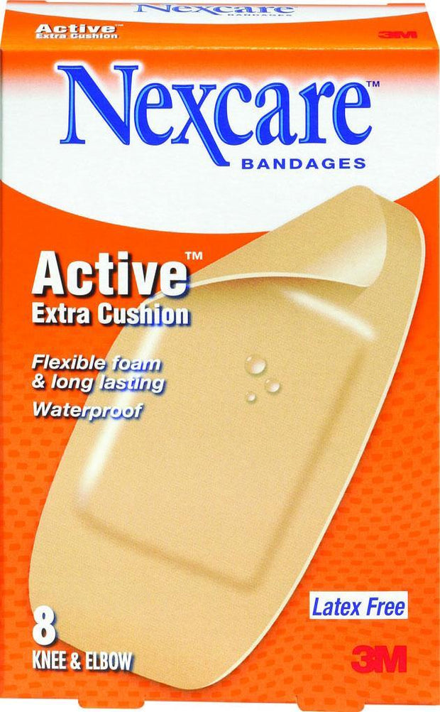 Nexcare Adhesive Bandages Active Extra Cushion Knee/Elbow 8 ct