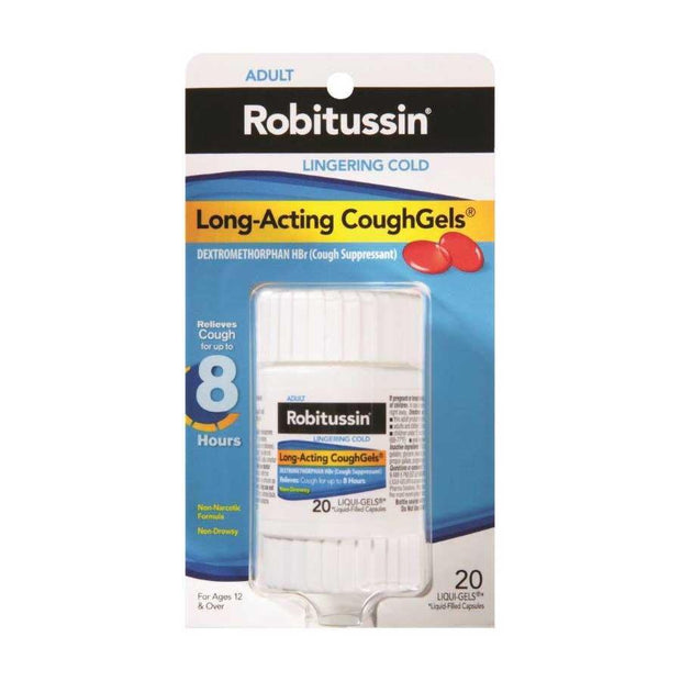 Robitussin Lingering Cold Long Acting CoughGels 20 ct