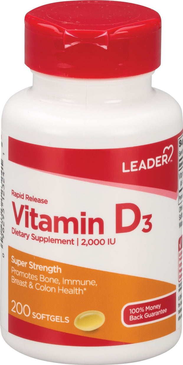 LEADER Vitamin D3 2000IU Softgels 200 ct