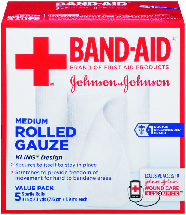 Johnson & Johnson Red Cross Rolled Gauze Medium 3 in. x 2.1 yd 5 ct