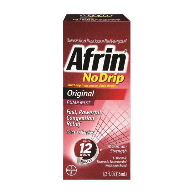 Afrin No Drip Original Pump Mist Nasal Spray 0.50 oz