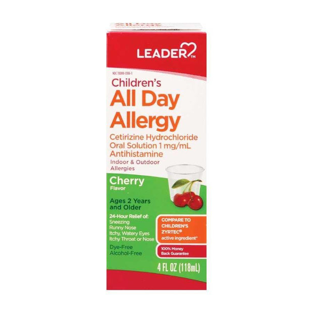 LEADER Children's All Day Allergy Relief Cherry Liquid 4 oz