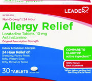 LEADER 24 Hour Allergy Relief Loratadine 10mg Tablets 30 ct
