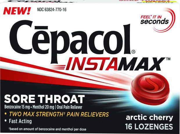 Cepacol Instamax Sore Throat Arctic Cherry Lozenges 16 ct