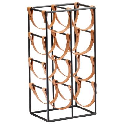 8 Bottle Iron and Leather Wine Holder - Mix Home Mercantile