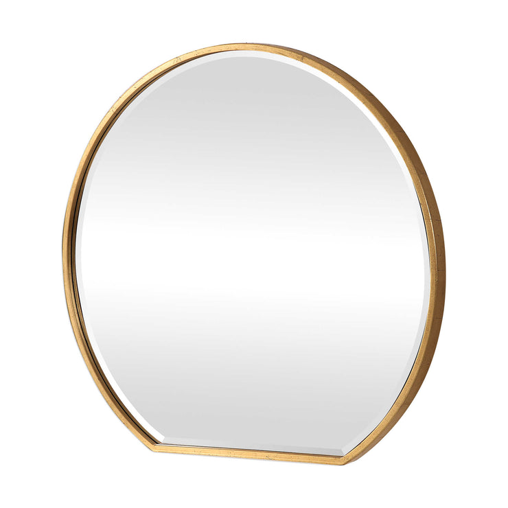 "42"" Round Gold Leaf Mirror - Mix Home Mercantile"