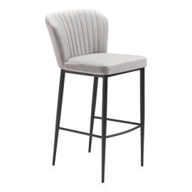 Gray Velvet Bar Chair - Mix Home Mercantile