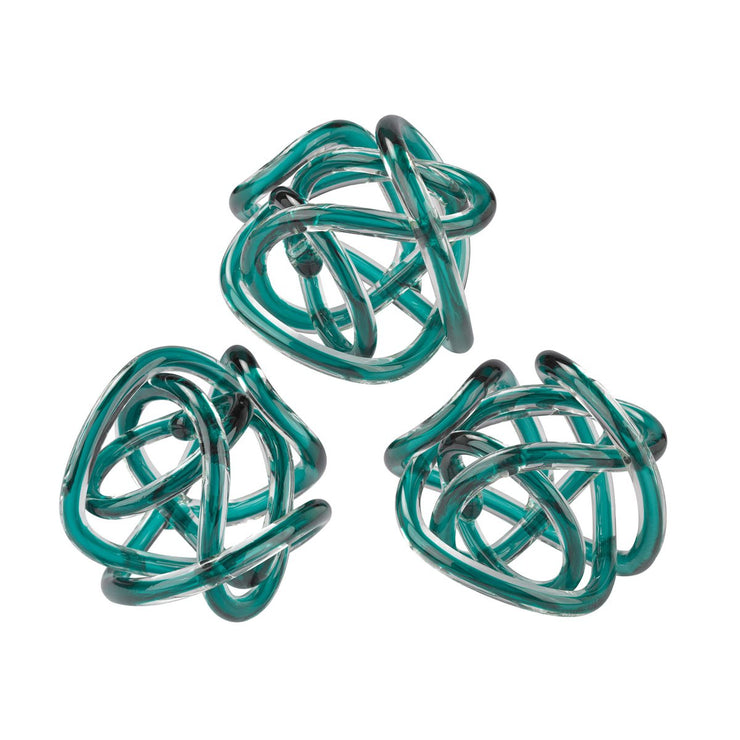 Aqua Glass Knots set of 3 - Mix Home Mercantile