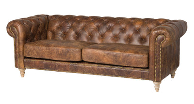 Distressed Brown Leather Sofa - Mix Home Mercantile