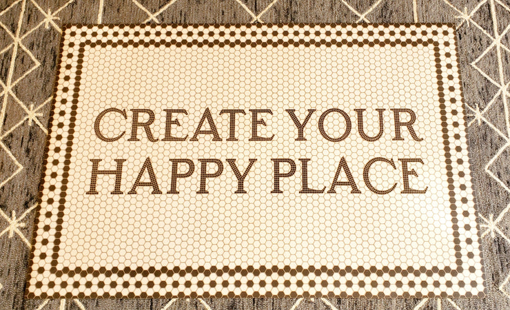 38 x 56 Vintage Vinyl Floor Cloth Create Your Happy Place - Mix Home Mercantile