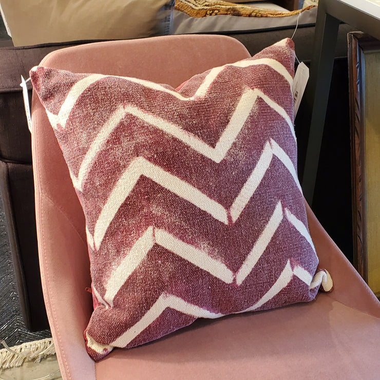 "18"" Deep Red Chevron Pillow - Mix Home Mercantile"