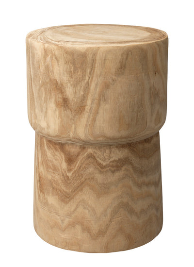 Natural Carved Wood Side Table - Mix Home Mercantile