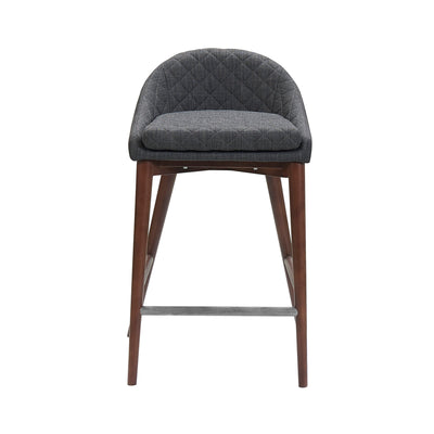 Dark Grey Upholstered Counter Stool - Mix Home Mercantile