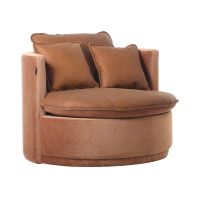 Cognac Leather/Velvet Round Lounger - Mix Home Mercantile