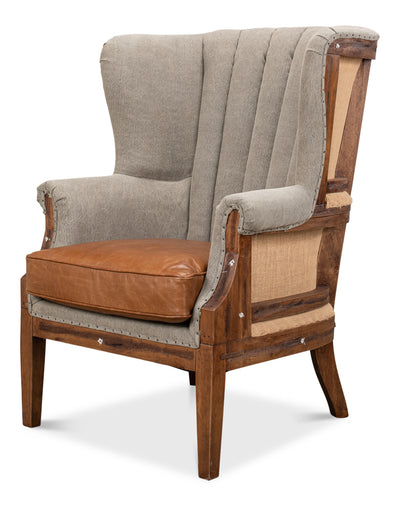 Two Toned Linen and Leather Chair - Mix Home Mercantile