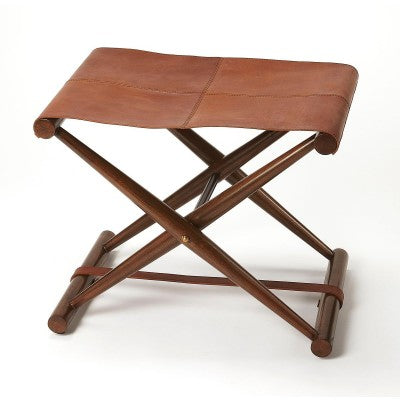 Leather Folding Stool - Mix Home Mercantile