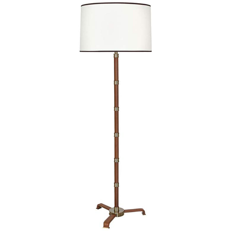 Modern Brass with Saddle Leather Floor Lamp - Mix Home Mercantile