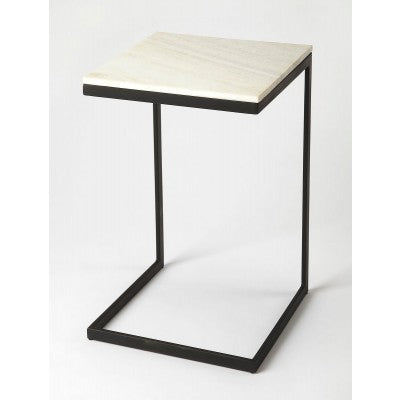 Black Iron and Marble End Table