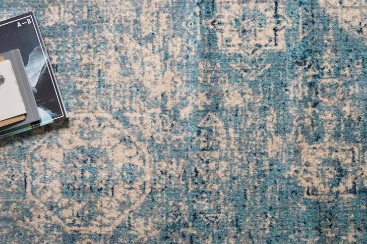 "Light Blue Ivory Rug 2'7"" x 4' - Mix Home Mercantile"