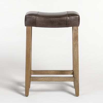 Dark Brown Leather Saddle Bar Stool - Mix Home Mercantile