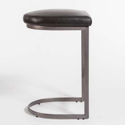 Black Leather and Metal Counter Stool - Mix Home Mercantile