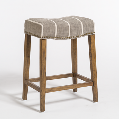 Saddle Counter Stool w/Striped Seat - Mix Home Mercantile