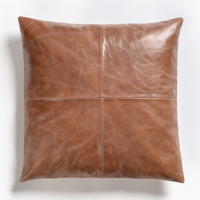 "Leather 20""  Down Pillow bourbon - Mix Home Mercantile"