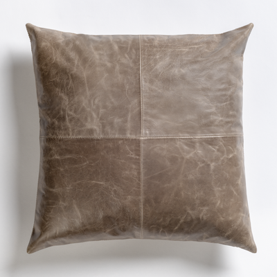 "20"" Down Grey Leather Pillow - Mix Home Mercantile"
