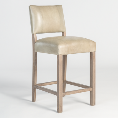 Leather Barstool in Refined Grey - Mix Home Mercantile